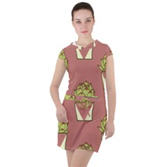 Cactus Pattern Background Texture Drawstring Hooded Dress