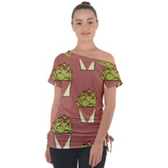 Cactus Pattern Background Texture Tie Up Tee