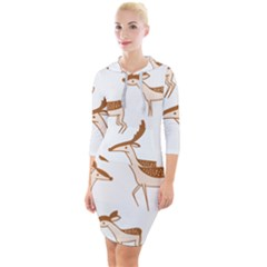 Seamless Deer Pattern Design Quarter Sleeve Hood Bodycon Dress