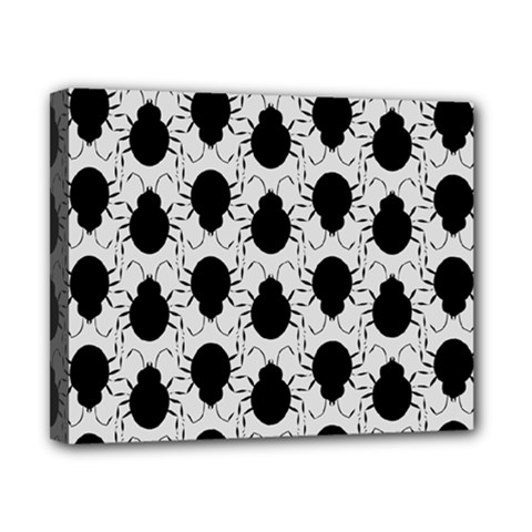 Pattern Beetle Insect Black Grey Canvas 10  X 8  (stretched) by Pakrebo