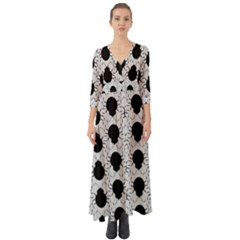 Pattern Beetle Insect Black Grey Button Up Boho Maxi Dress