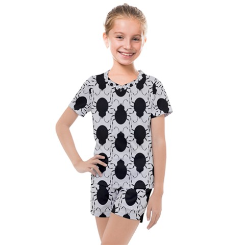Pattern Beetle Insect Black Grey Kids  Mesh Tee And Shorts Set by Pakrebo