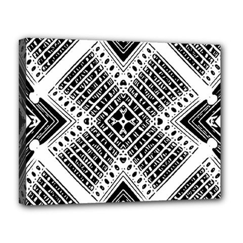 Pattern Tile Repeating Geometric Canvas 14  X 11  (stretched)