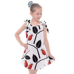 Rose Hip Pattern Branches Autumn Kids  Tie Up Tunic Dress