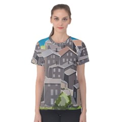 Village Place Portugal Landscape Women s Cotton Tee