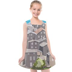 Village Place Portugal Landscape Kids  Cross Back Dress