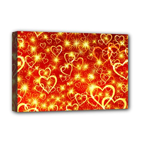 Pattern Valentine Heart Love Deluxe Canvas 18  X 12  (stretched) by Mariart
