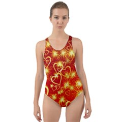 Pattern Valentine Heart Love Cut Out Back One Piece Swimsuit