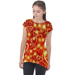 Pattern Valentine Heart Love Cap Sleeve High Low Top