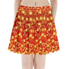 Pattern Valentine Heart Love Pleated Mini Skirt by Mariart