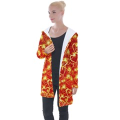 Pattern Valentine Heart Love Longline Hooded Cardigan by Mariart