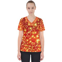 Pattern Valentine Heart Love Women s V Neck Scrub Top