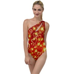 Pattern Valentine Heart Love To One Side Swimsuit by Mariart