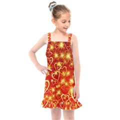 Pattern Valentine Heart Love Kids  Overall Dress