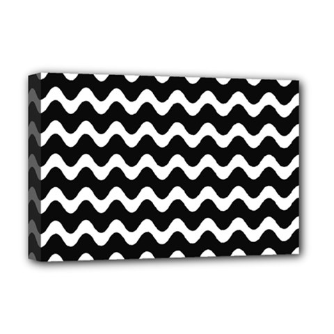 Wave Pattern Wave Halftone Deluxe Canvas 18  X 12  (stretched)