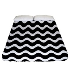 Wave Pattern Wave Halftone Fitted Sheet (queen Size)