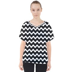 Wave Pattern Wave Halftone V Neck Dolman Drape Top