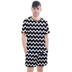 Wave Pattern Wave Halftone Men s Mesh Tee And Shorts Set by Jojostore