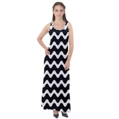 Wave Pattern Wave Halftone Sleeveless Velour Maxi Dress