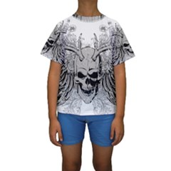 Skull Vector Kids  Short Sleeve Swimwear