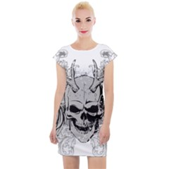 Skull Vector Cap Sleeve Bodycon Dress