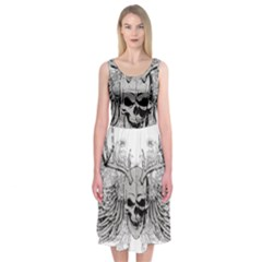Skull Vector Midi Sleeveless Dress