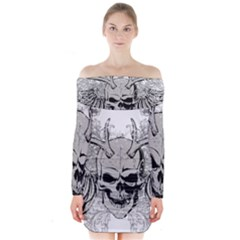 Skull Vector Long Sleeve Off Shoulder Dress