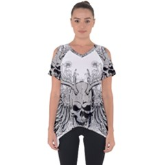 Skull Vector Cut Out Side Drop Tee