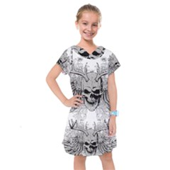 Skull Vector Kids  Drop Waist Dress