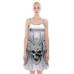 Skull Vector Spaghetti Strap Velvet Dress