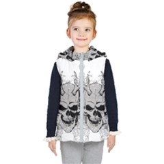 Skull Vector Kids  Hooded Puffer Vest