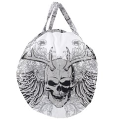 Skull Vector Giant Round Zipper Tote