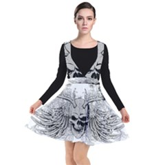 Skull Vector Plunge Pinafore Dress