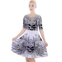 Skull Vector Quarter Sleeve A Line Dress