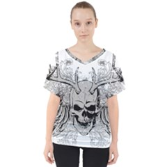 Skull Vector V Neck Dolman Drape Top