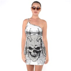 Skull Vector One Soulder Bodycon Dress