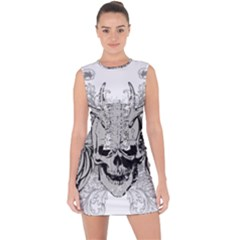 Skull Vector Lace Up Front Bodycon Dress
