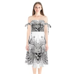 Skull Vector Shoulder Tie Bardot Midi Dress