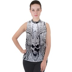 Skull Vector Mock Neck Chiffon Sleeveless Top