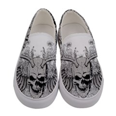 Skull Vector Women s Canvas Slip Ons