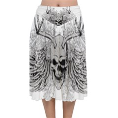 Skull Vector Velvet Flared Midi Skirt