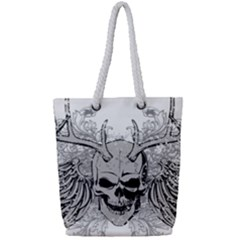 Skull Vector Full Print Rope Handle Tote (small)