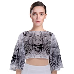 Skull Vector Tie Back Butterfly Sleeve Chiffon Top