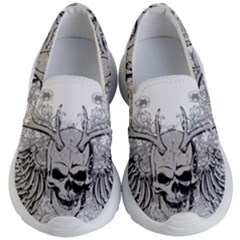 Skull Vector Kids  Lightweight Slip Ons