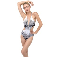 Skull Vector Plunging Cut Out Swimsuit
