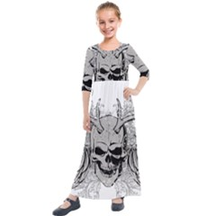 Skull Vector Kids  Quarter Sleeve Maxi Dress