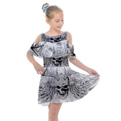 Skull Vector Kids  Shoulder Cutout Chiffon Dress