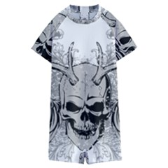 Skull Vector Kids  Boyleg Half Suit Swimwear