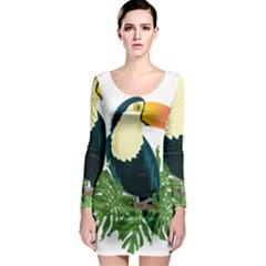 Tropical Birds Long Sleeve Bodycon Dress