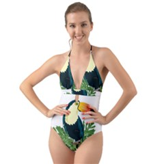 Tropical Birds Halter Cut Out One Piece Swimsuit